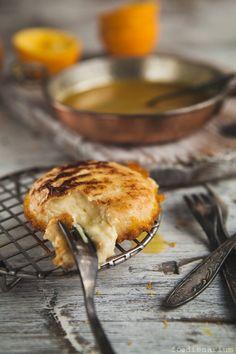 pan fried camembert with orange sauce