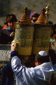 Celebrating The Torah at the Western Wall in Jerusalem, ISRAEL.