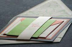 Enchanting Flourish Vintage Wedding Invitation shown in Orange, Green, Grey and Cream, Build-Your-Invite Collection - SAMPLE on Etsy, $5.65 AUD