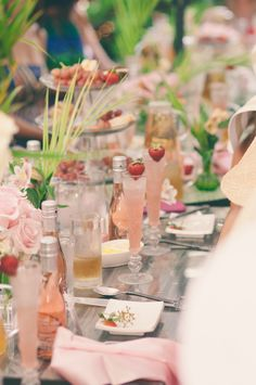 Incorporate the pink lemonade as my Mocktail drink with different mix ins if you would like with a table setting like this....