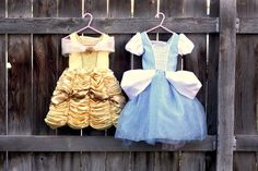 DIY Cinderella and Belle Dress-ups. Free Pattern! Great Idea for a Dress-Up trunk for christmas!