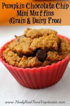 Pumpkin Chocolate Chip Mini Muffins / #grainfree #glutenfree #dairyfree #healthy