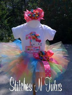 Custom 1st Birthday Hello Kitty ONESIE TUTU by embroideryandmore, $42.00