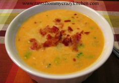 Pumpkin-Broccoli Beer Cheese Soup with Bacon