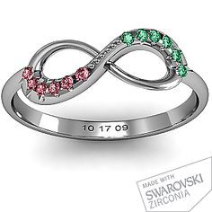 Infinity Accent Ring  with our birthstones and wedding date <3