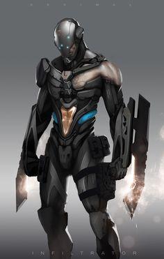 """""""Alla tester indikerar att det är en bra EXO ni tagit fram, men jag vet inte riktigt hur ni tänkte med...vibrosvärden?"""" character art, decimalconceptart12jpg 9601509, cyber armor, concept art, digital art, home art, decim concept, armor concept, game art"""