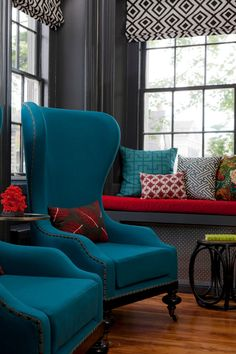 Turquoise and red color scheme. (via House of Turquoise: Rachel Reider Interiors + Chapman House)