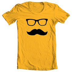 Items similar to Mustache Wayfarer T shirt Tee Tshirt - GOLD - Available in sizes - L (cts) on Etsy