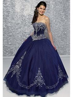 Blue Embroidery Ball Gwon Gothic Wedding Dress