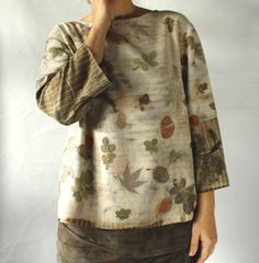 NEW Eco dyed silk blouse top naturally printed, S to M size, free shipping
