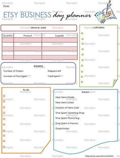 Etsy Business Day Planner Printable PDF by tidymighty