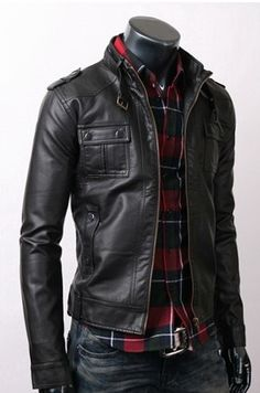 Strap Pocket Slim-fit Black Jacket