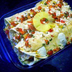 Chicken Enchiladas, stuffed with spanish rice, Pineapple Poca de Gallo ...