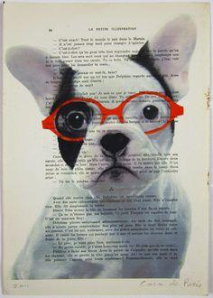 $12 Clever bulldog- ORIGINAL ARTWORK Mixed Media, Hand Painted on 1920 famous Parisien Magazine 'La Petit Illustration' by Coco De Paris    ...BTW,Please Check this out:  http://artcaffeine.imobileappsys.com