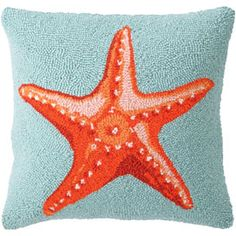 I want my bedding to be white, and I want the other colors in my new room to be like this - starfish pillows, coral, and turquoise sea blue