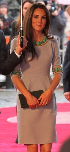 Catherine Duchess of Cambridge, aka Kate Middleton. Dress by Matthew Williamson.