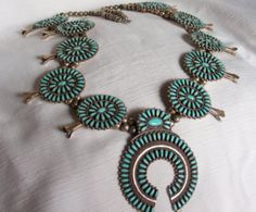Zuni Indian Squash Blossom Necklace*