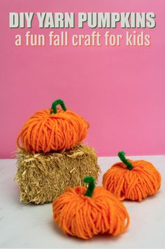 This great fall craft for kids is so simple all it takes is yarn  and pipe cleaner. It's fun for kids as well as adults. Who wouldn't love these  adorable DIY Yarn pumpkins? #projects #diycrafts #diyprojects #fundiys #funprojects #diyideas  #craftprojects #diyprojectidea #kidcraftidea #falldecor #fallcrafts  #diyfallideas #fall #autumn #kidscrafts #pumpkins #Thanksgiving
