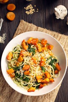 Roasted Butternut Squash Zucchini Pasta with Kale, Apricots and Wheatberries