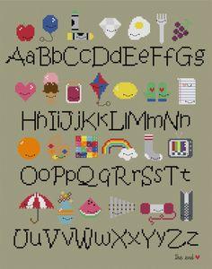 Kawaii Alphabet Sampler Cross-stitch PDF Pattern via Etsy.