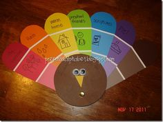 Thanksgiving Turkey craft with things they are thankful for on the paint samples. So cute!!