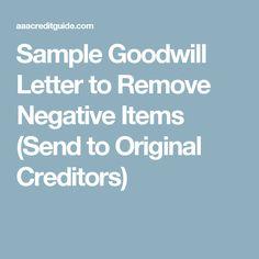 carta goodwill amostra a agência de coleção