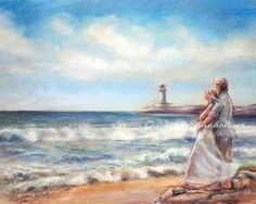 "Couple, beach, Seascape, romantic, ocean, seashore, lighthouse, fine art print, Laurie Shanholtzer, ""I Would Rather Be Here"