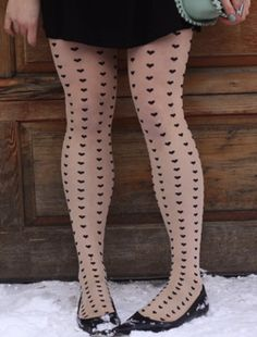 Heart Print Tights.