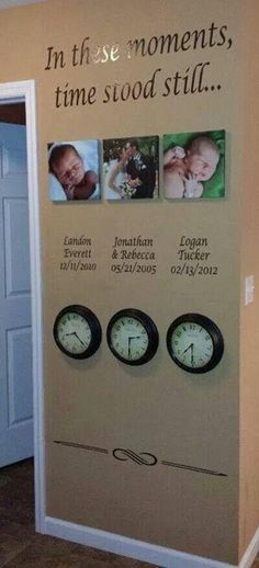 """""""In these moments, time stood still"""" wall showing photos of life events including your wedding and birth of your children with stopped wall clocks.  Love it!"""
