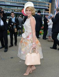 Amanda Holden asseccorising her outfit with the Aspinal of London Hepburn bag