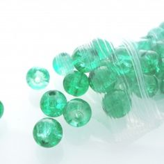 Crackle Green Glass Beads for Jewellery - Spoil Me Silly Jewellery
