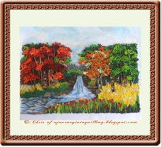 autumn forest, landscape paintings, paper crafting, quill art, quill paper, natur scene, forest waterfal, nature scenes, quill natur