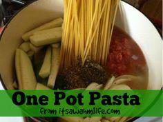 One Pot Pasta Recipe http://itsawahmlife.com/one-pot-pasta-recipe.html