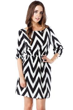 Forever Zig Zag Cinch Dress in Classic