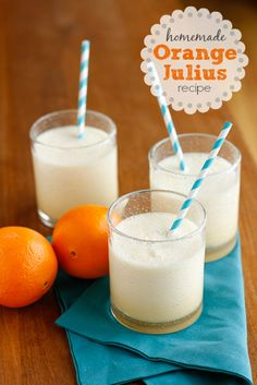 Homemade Orange Julius Recipe -- enjoy a delicious, creamy and tangy Orange Julius any time in the comfort of your own home... Kids LOVE these!