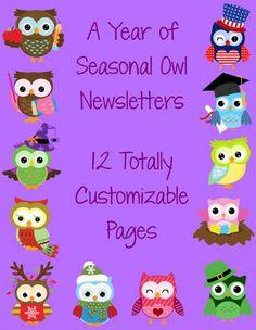 Seasonal Owl Themed Classroom Newsletters $