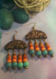 Boho Polymer Clay Dangle Earrings FREE SHIPPING by JodiesDreams, $10.00
