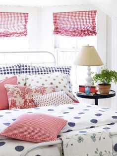 A great mix of color and pattern in this sunny bedroom.