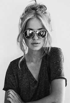 Middle Part. Long Bangs. Messy. Love the shirt, love the glasses, love the hair!