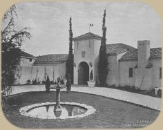Courtyard of Rudolph Valentino's Falcon Lair.