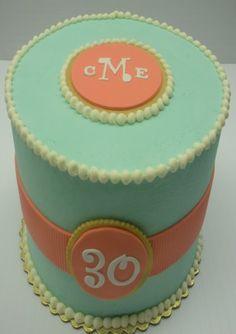 Basic Monogram Birthday Cake from The Cupcake Shoppe in Raleigh