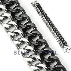 Silver Slave : This heavy duty Stainless Steel Black Dual Band Bracelet. It is thick and bold in design the design of simple locks but crafted in a way that is clearly mind blowing, it is surely stands out with its razor finish. The color combination reveals mixed emotions, and how one switches emotions to adapt to the need     $59.00  www.buybluesteel.com