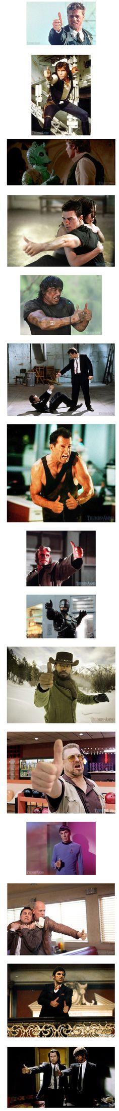 Pistolas en películas reemplazadas por pulgares arriba.