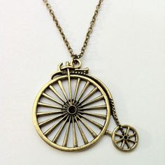 Bicycle Necklace Brass now featured on Fab.