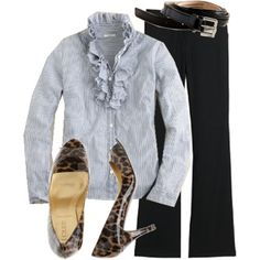 love the j. crew leopard heels and ruffled tuxedo shirt.