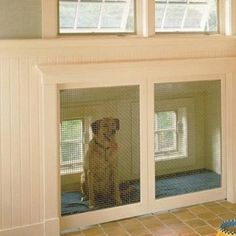 "Built in dog kennel.... with a doggy door from the outside. As an alternative to kenneling them in the garage.... this way they can be ""apart"" of the household without being ""inside"""