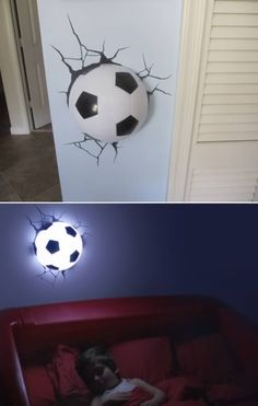 This 3D Deco Light of a soccer ball comes with this really cool sticker of cracks that goes around the ball so it looks like the ball was smashed into the wall. This was created by a Canadian father, Tom Wegrzyn, Artist and Entrepreneur, who took to the drawing board and conceptualized the first 3D Deco Light after not being able to find an adequate nightlight for his own son.