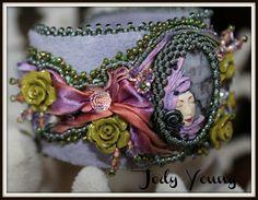 cuff vintag, bead embroideri, shibori ribbon, ribbon cuff, jewelri