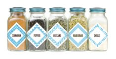 Square vintage framed borders :: Free Printables used as Spice Jar Labels. Download templates.