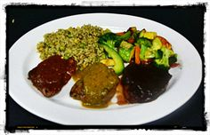 Tres Caballeros   Three prime tenderloin center cut medallions grilled and covered  with Poblano, Pasilla and Chipotle pepper sauces, served with rice  and sautéed vegetables ~ Authentic Mexican Cuisine in Katy, TX